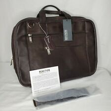 """Kenneth Cole Reaction Leather Laptop Case Bag Dark Brown 15.6"""" Professional New"""