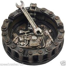 Motorcycle Chain Ashtray with Wrench & Bike Motif Man Cave Garage New Free Ship