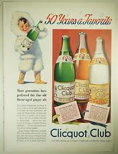 Vintage 1940 CLICQUOT CLUB SODA, GINGER ALE Full-Page Large Magazine Print Ad
