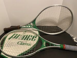 """PAIR OF PRINCE RACQUETS (1)Classic 110 Series Tennis 4 3/8"""" w COVER & 952 4 3/8"""""""
