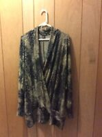Linda Lundstrom Canada Lagenlook Tapastry Crossover Sweater Tunic XXL