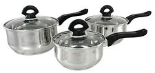 INDUCTION BUCKINGHAM STAINLESS STEEL 3 PC SAUCEPAN PAN POT SET CASSEROLE STEEL