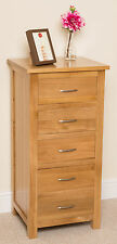 Boston Solid Oak Wood Chest of 5 Drawer Tallboy Storage Wooden Bedroom Furniture