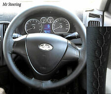 BLACK 100%REAL LEATHER STEERING WHEEL COVER GREY STITCHING FOR 07-11 HYUNDAI i30