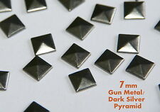 100 Pcs 7mm Gun Metal Flat Back Pyramid Studs Glue Hotfix Iron On -Addt SHP FREE