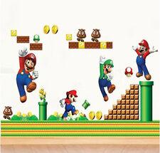 Cartoon Game Super Mario Bros Mural Wall Sticker Vinyl Decal Kids Room Decor DIY