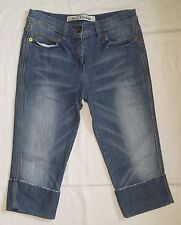 NEXT FITTED CROPPED FOLD UP DISTRESSED STRETCH BLUE DENIM JEANS 12 PETITE