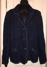 J Jill dark denim jean jacket sz 14 EUC button down linen cotton blend NICE!