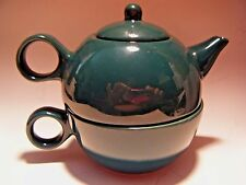 Tea Pot Cup Set for One Old Amsterdam 1701 Porcelain Works Brew Dark Green NEW