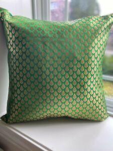 "Pillow cover/ Case, Silk, Brocade 18""cover for 20 inch Pillow, Green, Gold"