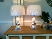 """A PAIR OF 17.75"""" HIGH CHROME/PEBBLE STYLE BEDSIDE/TABLE LAMPS + 12"""" WHITE SHADES"""