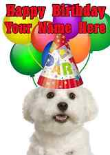 Maltese Dog Party Card codemat Birthday A5 Personalised Greeting card