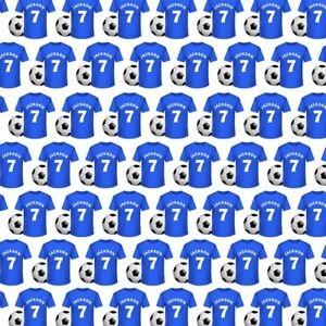 PERSONALISED FOOTBALL SHIRT FAN BLUE WRAPPING GIFT PRESENT WRAP PAPER NAME AGE