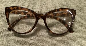 Betsey Johnson Cat Eye Retro Readers Glasses Thick Frames Leopard +2.00 NIB