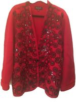 Holiday Red With Black Sequins Wool Sweater Jones NY Plus 3x
