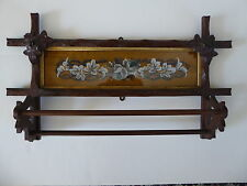 VICTORIAN WALNUT WALL TOWEL RACK with FRAMED  EMBROIDERY / TAPESTRY - CIRCA 1890