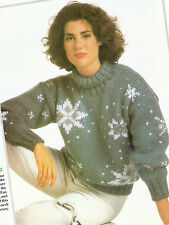Ladies Snowflake Jumper Sweater Knitting Pattern Christmas Jumper 32in - 38in