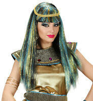 Ladies Cleopatra Wig Long Straight Egyptian Fancy Dress Costume Deluxe Hair NEW