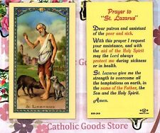 Saint St. Lazarus with - prayer to St Lazarus - Laminated  Holy Card