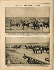 Patrouille Cavaliers Cavalerie Chevaux Poilus Sentinelles Plaine Nord  1915 WWI