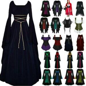 Womens Victorian Gothic Medieval Witch Cosplay Costume Vintage Fancy Dress Party