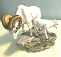 Vintage HOMCO Masterpiece Porcelain Rams Figurine Signed by Mizuno Artist