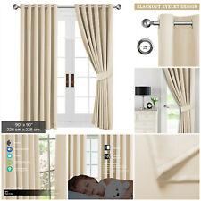 """Thick Thermal Blackout Eyelet Ring Top Ready Made Curtains Pair Cream 90"""" x 90"""""""