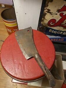 Vtg Old Used Nichols Bros #8 Meat Cleaver Butcher Knife Blade Wood Handle USA