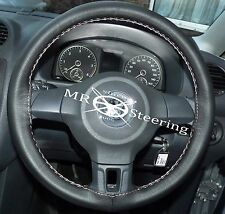 FOR VW POLO MK5 6R 09-15 LUXURY BLACK LEATHER STEERING WHEEL COVER WHITE STITCH
