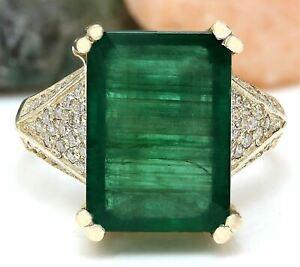 8.60 Carat Natural Emerald and Diamond 14K Yellow Gold Engagement Ring