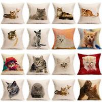 Cute Cat Animal Throw Pillow Cotton Linen Case Sofa Cushion Cover Home Decor18''