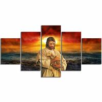 Jesus and Lamb in Sunset 5 Pcs Canvas Printed Wall Poster Picture Home Decor