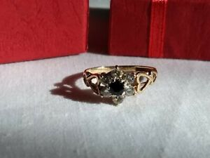 9ct Gold Onyx & Cubic Zirconia Ring Size J in box