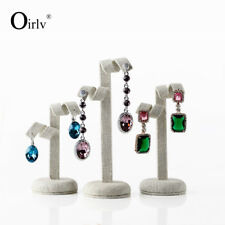 3pcs/set Creamy-white Linen Earrings Display Stand Jewelry Exhibition Holder
