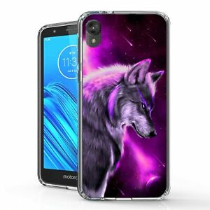 For Moto E6 XT2005 Hybrid Bumper Shockproof Case Staring Wolf Purple Skies