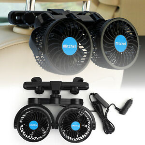 12V Dual Head Car Cooling Oscillating Back Seat Ventilation Air Fan