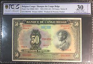 PCGS 30 Belgian Congo Banque Du Congo Belge 50  Francs 1941 Pick 16