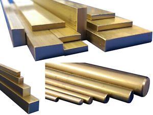 Brass, Square, Flat Bar, Round Rod, 50mm to 600mm Long, CZ121 Stock Metal
