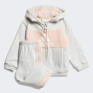 adidas infant girls pink/grey logo tracksuit. Jogging suit. Various sizes!