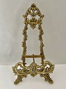 """Vintage Ornate BRASS TABLE TOP EASEL For BOOK PICTURE PLATE 7.25"""" HEIGHT"""