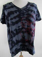 Tommy Hilfiger Blue Top Size 2X Tie Dye Floral Embroidery V Neck