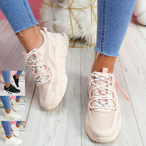 WOMENS LADIES LACE UP SPORT CHUNKY TRAINERS SPORT SNEAKERS RUNNING WOMEN SHOES