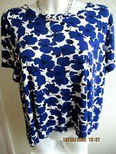 H&M pretty dip hem white with blue flower print top UK size Medium