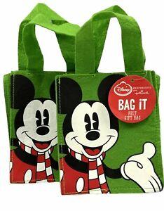 "2- Hallmark Expressions Disney Mickey Mouse Bags 6 X 5 X 3"" Green Felt"