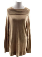 Chicos Size 3 Long Brown Cowl Neck Sweater