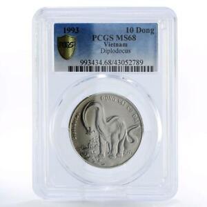Vietnam 10 dong Dinosaur Diplodocus MS68 PCGS CuNi coin 1993