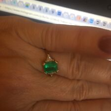 18 KT Yellow Gold Diamond & Emerald Cut Emerald Trillion Custom Ring