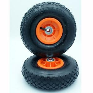 """2 x Spare 10"""" x 3.00-4"""" INFLATABLE PNEUMATIC Wheel for Carp Fishing Trolley Sack"""