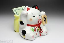 Lucky Beckoning Cat Maneki Neko Ceramic Piggy Bank Lottery Ticket Holder Japan