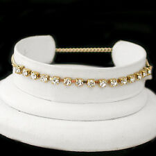 """10"""" WHITE 3mm Austrian CRYSTAL Tennis 14k GOLD GL Anklet FOOT CHAIN 